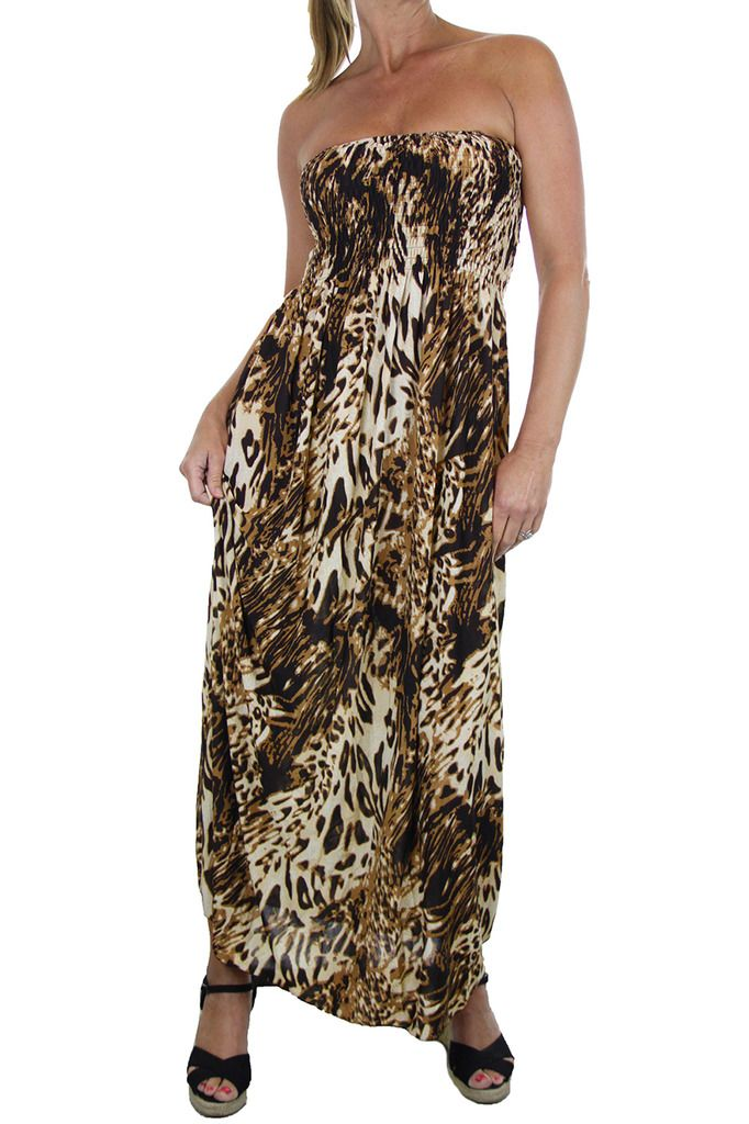 102ff240ff Ladies Bandeau Maxi Dress Animal Print